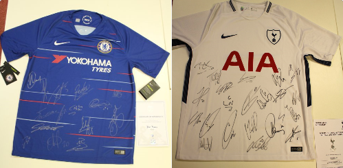 Tottenham and Chelsea signed football shirts   Toms Club